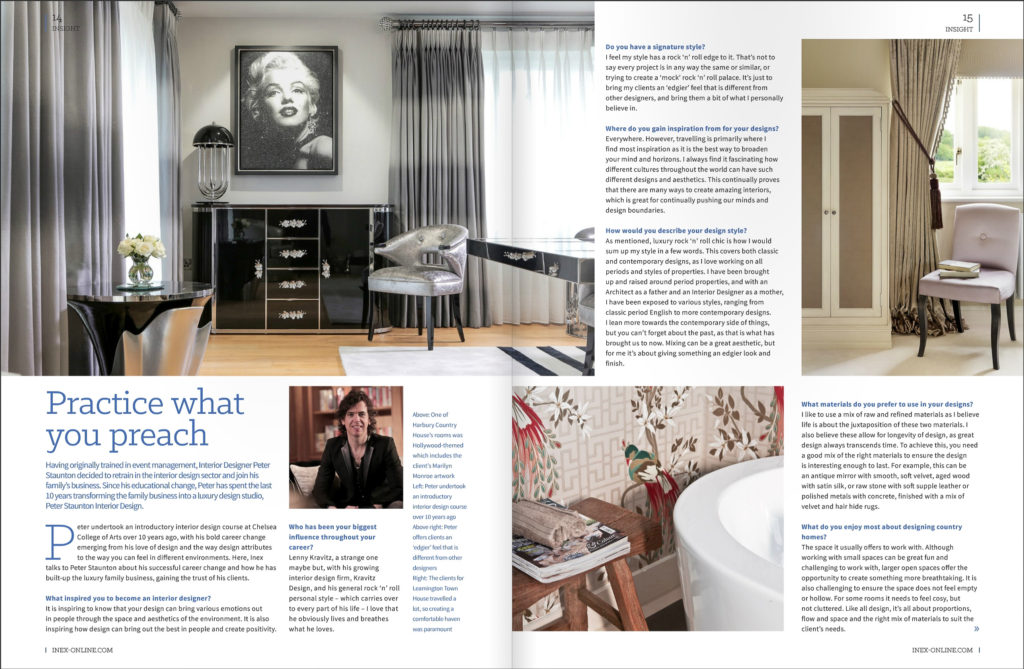 Peter staunton interviewed by inex magazine peter staunton design studio for Interview with a professional interior designer