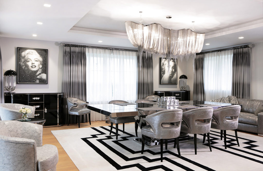Luxury Chandeliers The Harbury Country House Hollywood Dining Room – Interior Design Project in Harbury – Warwickshire/Midlands.