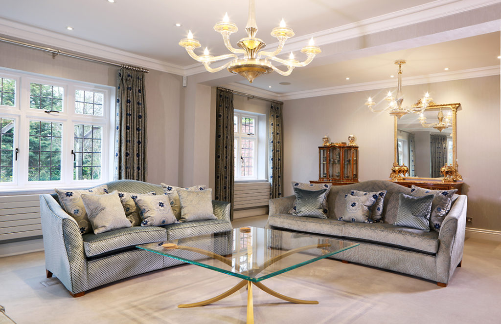 Luxury Chandeliers Lapworth Country State Lounge – Interior Design project in Lapworth – Warwickshire/Midlands.